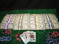 Prop Novelty Money Filler Packs 40 Blocks Casino Pack Solid Blocks.Single Sided