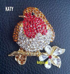 Art Deco Vintage Style Gold Robin Diamante Bird Brooch Pin Red Crystal Daisy