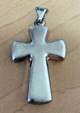 Sterling Silver Puffy Cross Slide Pendant, Vintage, NICE