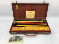 Vtg Cardinal Catalin Bakelite Mah Jong Jongg Set 154 Tiles +14 xtra 5 Racks Case