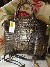 Brahmin LG Croco Leather Umbra Melbourne Duxbury Satchel Purse