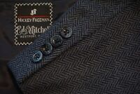 Hickey Freeman Boardroom Cashmere Blend Blue Herringbone Sport Coat Jacket 42L