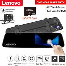 "Lenovo 4.5"" HD Dual Lens Car DVR Dash Cam Video Camera Recorder Rearview Mirror"