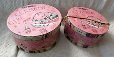 Vintage Round Hat Boxes. Set Of 2. One Fits Inside The Other