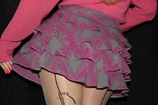 S2 TOPSHOP grey & magenta frilly mini skirt size 8 New without tags