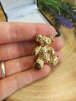 VINTAGE Gold Tone Teddy Bear Brooch Cute Gift Occasion