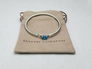 David Yurman Petite Wheaton Hampton Blue topaz & Diamonds Bracelet size small