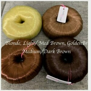 Bun Shaper Donut Hair Covered Bun Ring Blonde Brown Blend With Your Colour 8-9cm