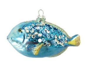 December Diamonds Nautical Blue Sequined Glass Christmas Ornament