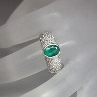 Ring mit 1,20ct kolumbianischem Smaragd und 0,70ct Brillant W-vs/p1 18K Weißgold