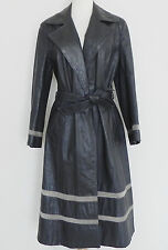 Vtg The Tannery Leather Coat Long Open Duster Belted Gray Size XL