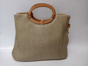 VTG Fossil Handbag Tote Woven with Leather Trim & Handles 75082