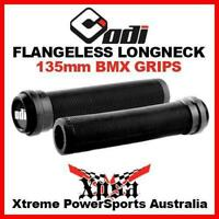 ODI RIBBED FLANGELESS LONGNECK 135mm GRIPS SOFT COMPOUND BLACK BMX w/ END PLUGS