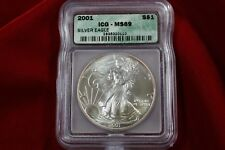 2001 AMERICAN SILVER EAGLE, ICG MS69, UNITED STATES BULLION COIN