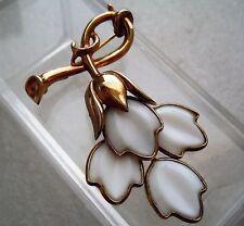 Vintage signed Trifari Poured Glass 4 Flower Dangle Drop Brooch Pin Estate Lot