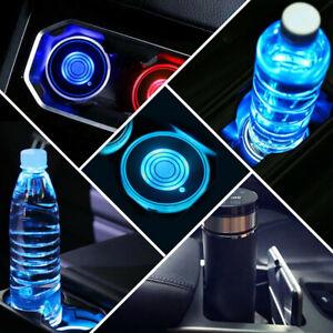 2pcs LED Colorful Car Cup Holder USB Charging Mat Coaster Pad Light Accessories