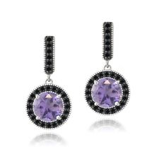 925 Silver 2.8ct Amethyst & Black Spinel Round Dangle Earrings