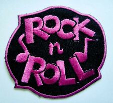 PINK ROCK 'N' AND ROLL MUSIC LOGO EMBROIDERED IRON ON PATCH Free Shipping