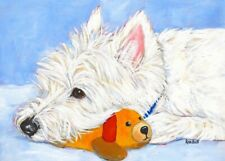 """West Highland Terrier Aceo Westie Print Painting """"The Best Toy!"""" Dog Art Randall"""