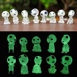 10Pcs Resin Princess Mononoke Forest Elf Kodama Luminous Figures Ornaments Toys