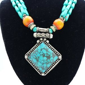 Tibetan Turquoise Necklace Statement Boho Chunky
