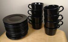 LOT Ralph Lauren Italy 8 Cups / Mugs + 12 Saucers   Black    RARE