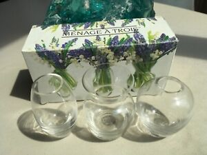 """BRAND NEW! """"TWO'S COMPANY"""" 3 HAND BLOWN SET OF GLASS VASES 3 1/2"""" BOXED-EXECELLE"""