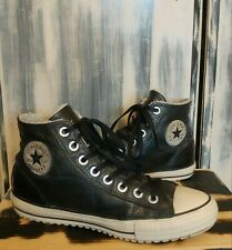 CONVERSE Black Star Leather Fur CHUCK TAYLOR All Star High Tops Shoes Mens Sz 9