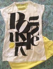 Pinko Completo T-shirt Bianca Manica Corta Tg.XL  E Pantaloni Gialli Tg.14/XXL