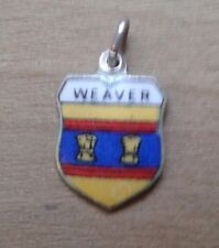 Weaver Coat of Arms / Family Crest Silver Plated Enamel Charm