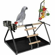 Parrot Bird Perch Table Top Stand Metal Wood 2 Cups Play Medium and Large Breeds