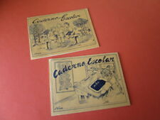 VINTAGE LOT OF 2 PORTUGUESE SCHOOL NOTEBOOKS WITH MULTIPLICATION TABLE 40'S NEW