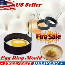 2x Metal Egg Frying Ring Perfect Circle Round Fried/Poach Mold+Handle Non Stick
