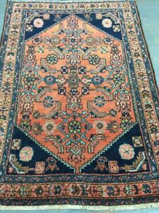 Antique Old Used Per Sia Handmade Wool Rug Carpet Shabby Chic,Size:3.9 By2.9 Ft