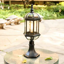 Retro Outdoor Pillar Mounted Coach Light Black Metal Lantern Gate Post Lamp Deco