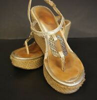 Lilly Pulitzer Good As Gold Platform Wedge Sandals Womens Sz 6.5 with Box