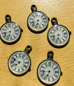 5 x Clock Watch Charms Steam Punk Charms Antique Bronze Ideal Jewellery Making