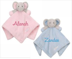 Personalised Sensory Elephant Teddy Comforter Pink Blue Newborn Gift Baby Shower