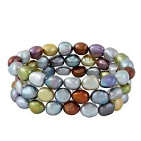 Honora Set of 3 9-10 mm Dark Multi Baroque Freshwater Cultured Pearl Bracelets