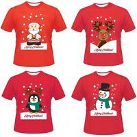Men Women Unisex Christmas Print Tee Shirt Short Sleeve T-Shirt Blouse Xmas Tops