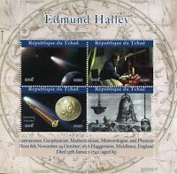 Chad Space Stamps 2020 MNH Edmund Halley Halley's Comet Astronomy 4v M/S