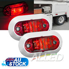 2X12v oblong Red Side Marker Light Van Trailer Truck Caravan RV Clearance Lamp