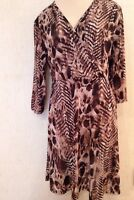 CHICO'S Size 1 = Ms 8-10 Washable ANIMAL PRINT Chicos Faux Wrap  DRESS EUC
