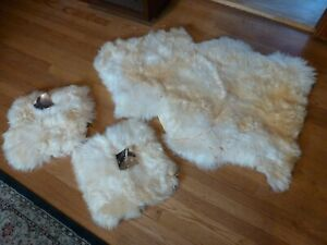 """Bowron Gold Star Sheepskin Rug 44 X 30"""" Ivory and 2 Pillow Covers 13 X 13"""