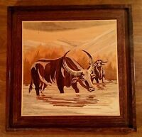 Vintage Inlaid Wooden Buffalo Picture Framed