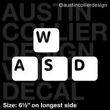 "6.5"" WASD vinyl decal car window laptop sticker - pc gamer fps mmorpg"