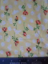 "Vintage Yellow & Orange Floral Print Semi Sheer Sewing Fabric 1 yd + 32.5"" x 45"""