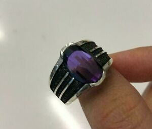 925 Sterling Silver Handmade Authentic Turkish Amethyst Ladies Ring Size 9-12