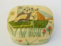 VINTAGE 1979  CAROLYN BARFORD KASHMIR TRINKET BOX OWL and PUSSY CAT