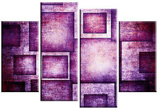 LARGE PURPLE CANVAS PICTURE ABSTRACT WALL ART SQUARES RECTANGLES 4 PANEL 100cm